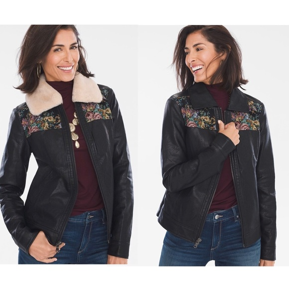Chico's Jackets & Blazers - CHICO'S FAUX LEATHER FLORAL JACQUARD JACKET